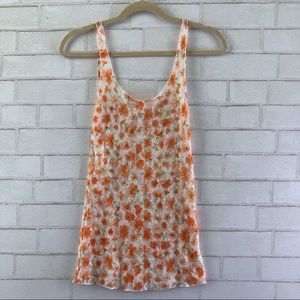 Free People Intimately Orange Floral Lace Tank Top